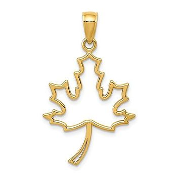 14K Yellow Gold Maple Leaf Outline Necklace Charm