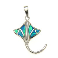 925 Sterling Silver Rhodium Hawaiian Stingray Fish Blue Opal Pendant Charm