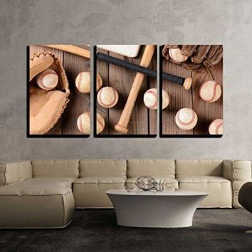 "wall26 - 3 Piece Canvas Wall Art - baseball equipment on a rustic wood surface - Modern Home Decor Stretched and Framed Ready to Hang - 16""x24""x3 Panels"