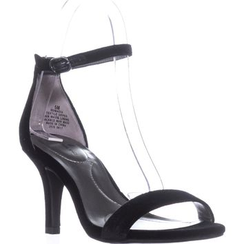 Bandolino Madia Ankle Strap Peep Toe Sandals, Black2, 6 US
