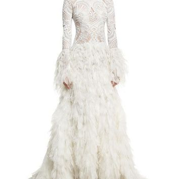 Jonathan Simkhai Collection Long-Sleeve Lace Gown with Ostrich Feather Skirt, White