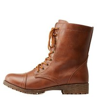 Cognac Lace-Up Combat Boots by Charlotte Russe