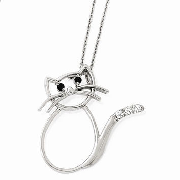 Sterling Silver CZ Cat 18in. Necklace