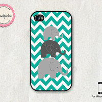 Mint Chevron Elephant iPhone 4 Case, iPhone 4s Case, iPhone Case, iPhone Hard Case, iPhone 4 Cover, iPhone 4s Cover
