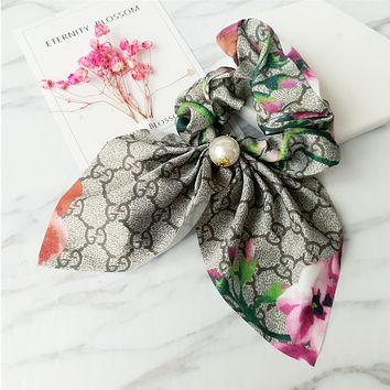 GUCCI retro printed cloth hair ring hair simple temperament big bow knot flowers
