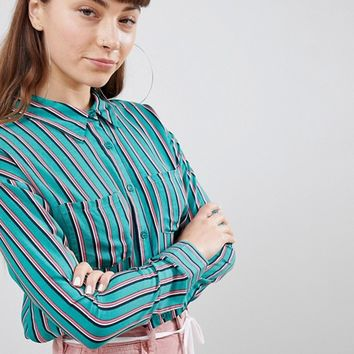 Daisy Street Relaxed Shirt In Contrast Stripe at asos.com