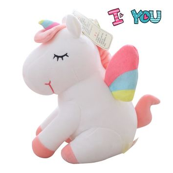 Kawaii  Unicorn Plush Doll Ultra Soft Stuffed Horse Animals Toy Elastic Plushie Kids Huggable unicorn Birthday Gift Home Decor