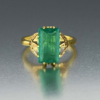 2 ct Solitaire Vintage Emerald Ring 14K Gold