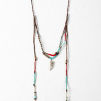 Wrapped Cord Beaded Tassels Necklace