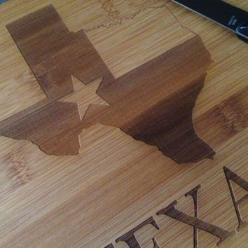 Texas Laser Engraved Personalized Bamboo Cutting Board Wedding Gift