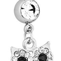 14g Surgical Steel Jeweled Owl Dangle Belly Button Ring