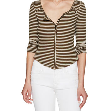 Free People Women's Striped Cropped Thermal Top - Green -