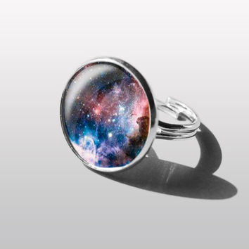Adjustable ring ART Nebula Solar System Ring, Planet Ring, Space Jewelry, Galaxy Ring. Gift for Girl or sister.