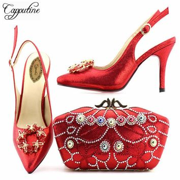 Capputine Hot Sale Italian  Elegant Shoe And Bag Set African Fashion High Heels Shoes And Bag Set For Wedding Party Size 38-42