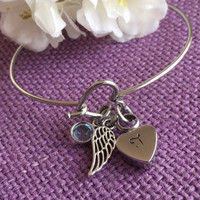 Urn cremation Jewelry - Memorial Jewelry Bracelet Remembrance Necklace - Sympathy Gift - Memorial Jewelry - Angel Wing