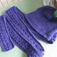 Women's Scarf and Hat Set, Winter Accessories, Purple Set