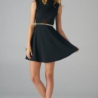 Black Sleeveless Fit and Flare Dress with Open Back