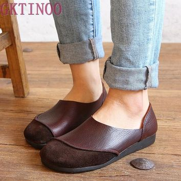 Vintage genuine leather handmade women's shoes female moccasins loafers soft outsole casual shoes flats