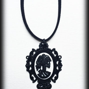 Gothic Victorian Black Skull Cameo Necklace - Black Baroque Frame