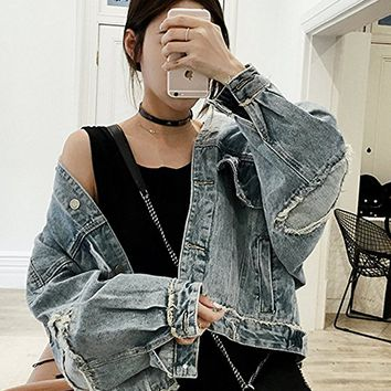 Women's Denim Jacket Holes Casual Loose Fitting Blue