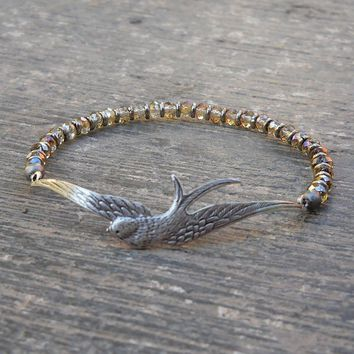 Sparrow Bangle, Antique Silver and Light Gold Colored Crystal