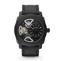 Machine Twist Leather Watch – Black