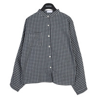 Mini Check Mandarin Button Down Shirt