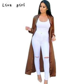 Women's Sexy Casual Cardigan Long Sleeve V-neckline Solid Long Coat Sashes X- Long Casual Satin Retro Mujer Outwear Anorak Oct11