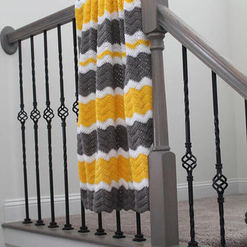 Yellow and Gray Baby Blanket, Crochet Baby Chevron Afghan, Crib Blanket, Toddler Throw, Gray White and Yellow