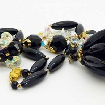 Vintage Vendome AB Crystal Black Beaded Necklace and Clip Earrings