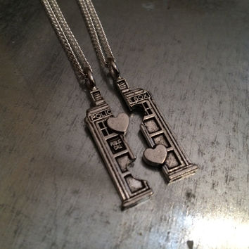 Phone Booth Double Heart Friendship Necklace