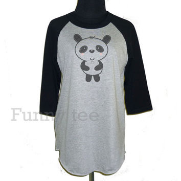 Panda raglan shirt **3/4 sleeve shirt **Men women tshirts **teen clothing size S M L XL