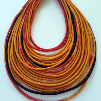 Spiral Strand Necklace - Cotton Yarns Wrapped - Acrylic Yarns- Beaded - Street Hippie Fashion - Stylish Handmade Necklace