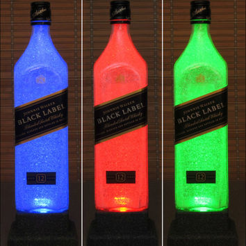 Johnnie Walker Black Whisky Color Changing LED Remote Control Bottle Lamp Party Light  -Bodacious Bottles-
