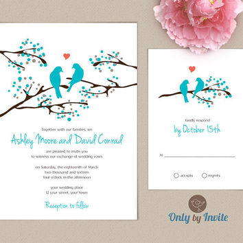 Love Bird Wedding Invitation and RSVP Set Personalized | Romantic Wedding Invitation | Spring Summer Wedding