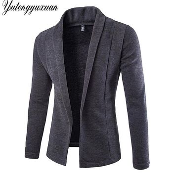British Hot Sale For Dovetail Style Knitted Sweater Men 2017 New Solid Cardigan Sweaters Without Mens Blazer Jacket Jumpers