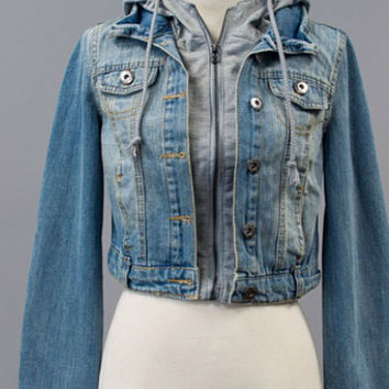 Jean Jacket with Gray Hood