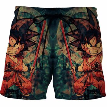Cloudstyle dragon ball shorts blue printing men short pant Summer beach shorts 2017 New design shorts elastic men board pant