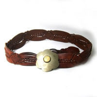 Vintage hippie boho wide plaited tan leather belt with and silver buckle