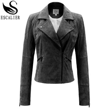 Escalier Vogue Winter Leather Jacket Women's Basic Coats Slim Zipper Genuine Leather Coat Plus Size 2XL Free Shipping Jacket