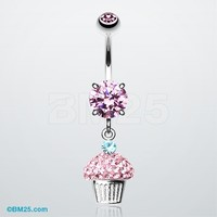 Cupcake Delight Tiffany Inspired Dangle Belly Button Ring