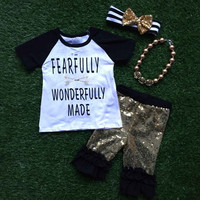 2016 Baby girls summer clothes FEARULLY WONDERFULLY MADE OUTFITS girls summer shorts with accessories