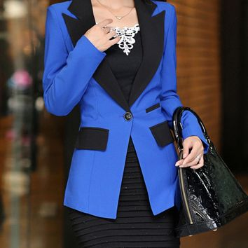 Streetstyle  Casual Notch Lapel Single Button Color Block Blazer
