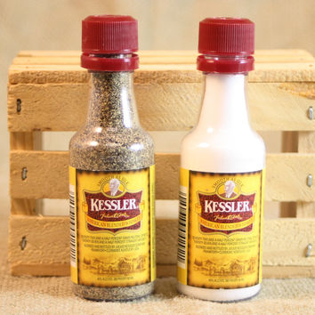 Mini Liquor Bottle Salt & Pepper Shakers Upcycled from Kessler Whiskey Mini Liquor Bottles