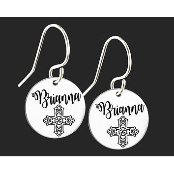 Personalized Celtic Cross Earrings | Korena Loves
