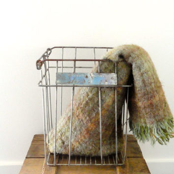 Industrial Metal Egg Crate Wire Basket Storage Farmhouse Decor