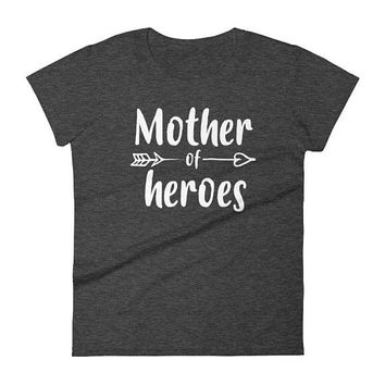 Mom shirt , Women's Mother of Heroes t-shirt - mom of twins gifts, gift for mother of twins , baby shower gift, mothers day gift,