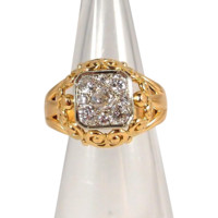 Glamorous and heavy two tone 18K solid gold and over 1.0ct tw diamond ring, old European cut diamonds