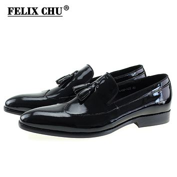 Fashion Black Genuine Patent Leather Men's Wedding Dress Shoes Formal Banquet Slip On Loafers With Tassel