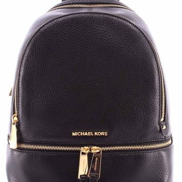 Women's Bag Backpack MICHAEL KORS 30S5GEZB3L Large Back Pack Black Rhea Zip New